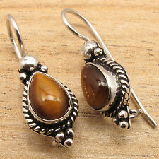 Collectible Drop TIGER'S EYE Gemset ANTIQUE STYLE Earrings ! 925 Silver Plated