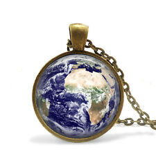 Planet Earth Pendant, Globe Necklace,  Bronze Glass Pendant with Chain