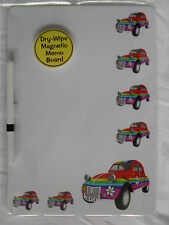 RAINBOW / FLOWER CITROEN 2CV CAR DRY WIPE MAGNETIC FRIDGE MEMO BOARD + PEN.NEW