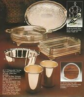 VINTAGE AD SHEET #1982 - SHEFFIELD SILVERPLATED GIFTWARE - SERVING TRAY