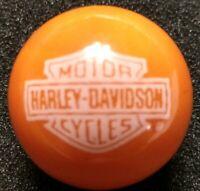 "Rare ® Harley Davidson White Bar & Shield On Orange 7/8"" Marble New"