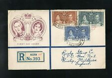 GOLD COAST 1937 - KG VI - CORONATION - REGISTERED - FIRST DAY COVER - ACCRA CDS
