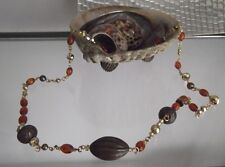 HANDCRAFTED FANCY BEAD CHAIN LINK NECKLACE, LONG, BRONZE & AMBER COLOR,NEW, AUST