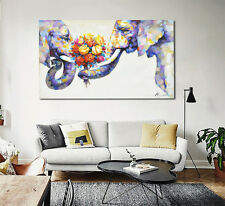 Modern Abstract Oil Painting Wall Decor Art Huge - Couple elephant rose romantic