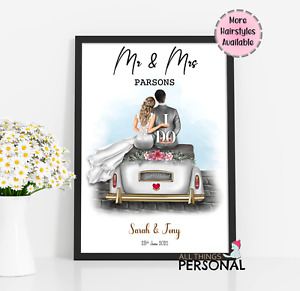 Personalised Wedding Gift Mr & Mrs Print for Bride and Groom Present Newly Weds