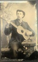 3 Tintypes, Man With Guitar, Falling, Trick Photography