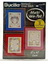 1994 NIP Stamped Cross Stitch Embroidery Kit Inspirational Samplers Makes 3 7379