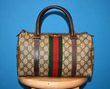 Vtg GUCCI Signature Brown Leather STRIPE Tote Barrel Handbag Purse Bag ITALY