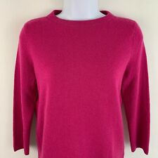 Talbots Womens Sweater 100% Cashmere 3/4 Sleeve Crew Neck Pullover Pink Small