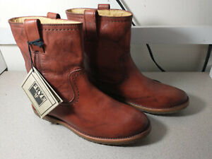 NWOB Frye Women's Anna Shortie Leather Ankle Boot  Medium Brown Pullon Size 8.5B