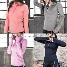 Women Long Sleeve Yoga Fitness Jacket 1/2 Zipper Stretchy Fit Sport Clothes Tops