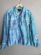Sharon Ashely- Vintage?Tie Dyed Silk~Embrderd Jacket Blazer Art To Wear~ Plus 3X