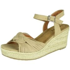 Womens Wedge Sandals Hessian Ladies High Heel Ankle Strap Espadrilles Shoes Size
