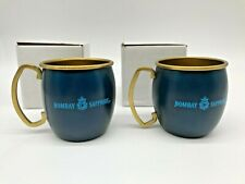 Lot Of 2 Bombay Sapphire Gin Moscow Mule Mug Cups Brass & Blue