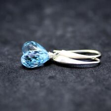 Natural Briolette Sky Blue Topaz Earrings Sterling Silver 925 4th Anniversary