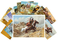 Postcards Pack [24 cards] Indians on Horses Netive American Chief Vintage CD3009