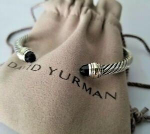 DAVID YURMAN Cable Classic Cuff Bracelet with Black Onyx & 14K Gold - Mint! $650
