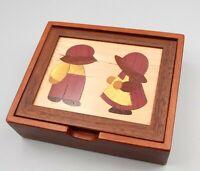 JG White Handmade Inlaid Wood Box Cherry Walnut Sunbonnet Sue Andy trinket