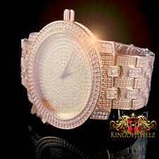 MEN ICED OUT TWO TONE ROSE GOLD GP LAB DIAMOND ICEMASTER METAL BAND WRIST WATCH