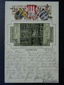 Germany HAMBURG Rathaus ll Haupt Portal c1901 UB Embossed Postcard