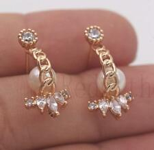 18K Gold Filled - Claw Pearl Joint Waterdrop Cat Eye White Topaz Stud Earrings