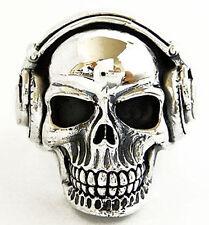 DJ SKULL MUSIC HEADPHONE STERLING 925 SILVER RING Sz 8