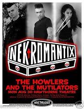 NEKROMANTIX 2010 PORTLAND CONCERT TOUR POSTER -Psychobilly Music, Denmark Rocks!
