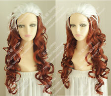 cosplay wig X-Men Rogue Mary White and Copper Red Curly hair movie show wig