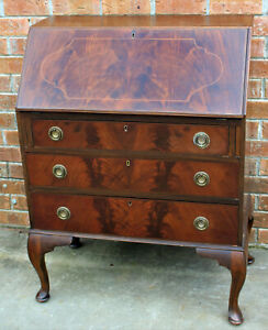 ANTIQUE FLAME MAHOGANY DROP FRONT WRITING DESK 3 BUREAU DRAWERS BANDED INLAY
