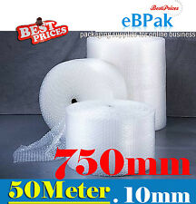 Bubble Cushioning Wrap Roll 750mm x 50M Meter  - CLEAR 10mm Bubble