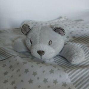 Matalan Grey Teddy Bear Baby Comforter Soft Hug Toy Stars And Stripes