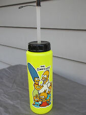 "New Vintage 1990 ""The Simpsons"" 9"" Yellow Water Bottle with Cap & Straw"