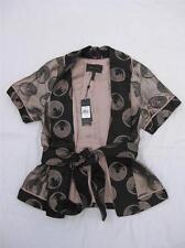 BCBG MAXAZRIA Kori Black Circle Dots Silk Kimono Japanese Belted Wrap M NWT $328