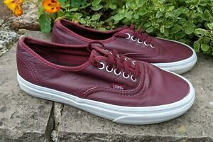 VANS UK 6 Burgundy Leather & Laces Authentic Flats Sneakers Limited Ed