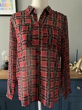 Brave Soul Size S Sheer Red Checked Long Sleeved Shirt Blouse