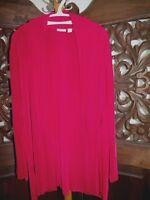 Travelers Chicos Blouse Top  Open Front Burgundy Long Sleeve Women's sz 3 / XL