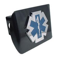 fire ems logo emblem chrome on black trailer hitch cover usa made