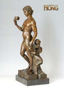 Art Deco Sculpture Greek Mythology Man Dionysus Drink Bronze Statue