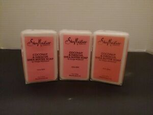 Shea Moisture Coconut & Hibiscus Shea Butter Soap Dull Skin 8 oz lot of 3