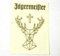 Jägermeister temporäres Tattoos - gold-farbiger Schriftzug Hirsch Logo Kreuz