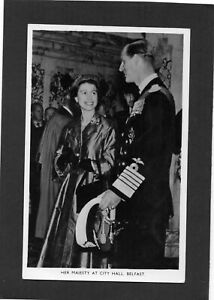 HM Queen Elizabeth & HRH Prince Philip at City Hall, Belfast, N.Ireland. RPPC.