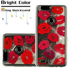 ZTE Phone Hybrid Bling Liquid Glitter Quicksand Rubber Protective Case Cover KIT