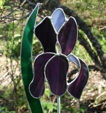 Stained Glass Purple Iris Garden Stake