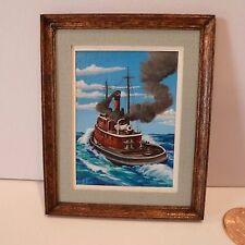 MINIATURE OIL PAINTING   TUG BOAT IN THE WATER BY ED CHOL  ORIGINAL/SIGNED/DATED