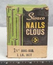 "Vintage Sivaco Nails 1-1/4"" Ring Und. Box Packaging Advertising mv"