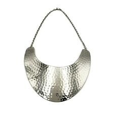 Brass Necklace Silver Tone Statement Necklace Bib Hammered Choker MT-NK6925