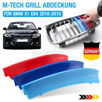 3X Grille M Style Kidney Sport Grill Cover Decal Clip Strip ABS For BMW X1 E84