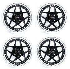 15x6.5 Kudo Racing Kyoto 4x100 +38mm Black with Polish Lip Wheels Rims Set(4)