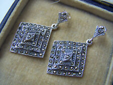BEAUTIFUL VINTAGE STYLE LARGE STERLING SILVER MARCASITE EARRINGS UNIQUE RARE