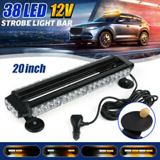 20'' 38LED Amber & White Car Truck Emergency Warning Strobe Light Bar Beacon